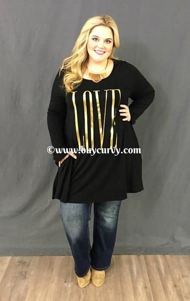 $34.99--3X---#1-M{Extended Plus} LOVE Black Tunic Dress with Pockets