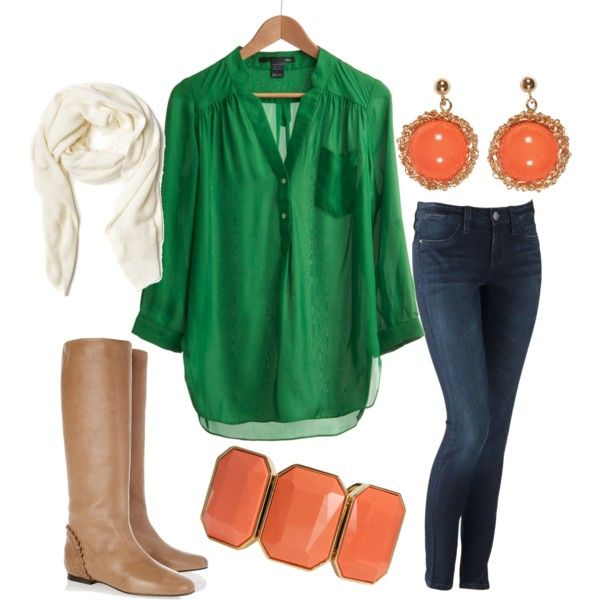Fun green and coral outfit.: Emeralds, Blouses, Green Tops, Colors Combos, Shirts, Fall Outfits, Colors Combinations, Kelly Green, Boots