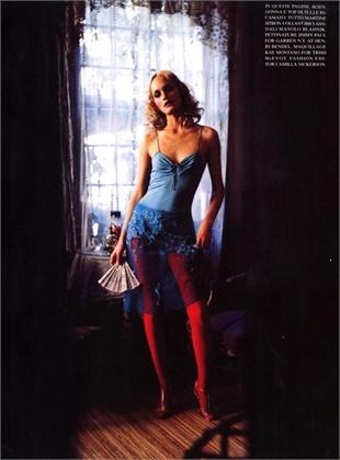 Photo by Ellen Von Unwerth 1996  Top Martine Sitbon, Gonna Martine Sitbon, Lingerie Martine Sitbon, Calze Ibici, Scarpe Manolo Blahnik  Vogue Italia, giugno 1996