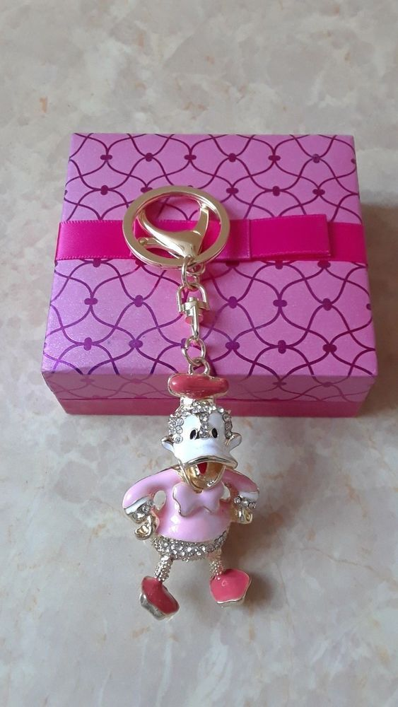 Pink Donald Duck Key Chain, Women Handbag Charm, Metal Enamel Duck Key Ring #Unbranded