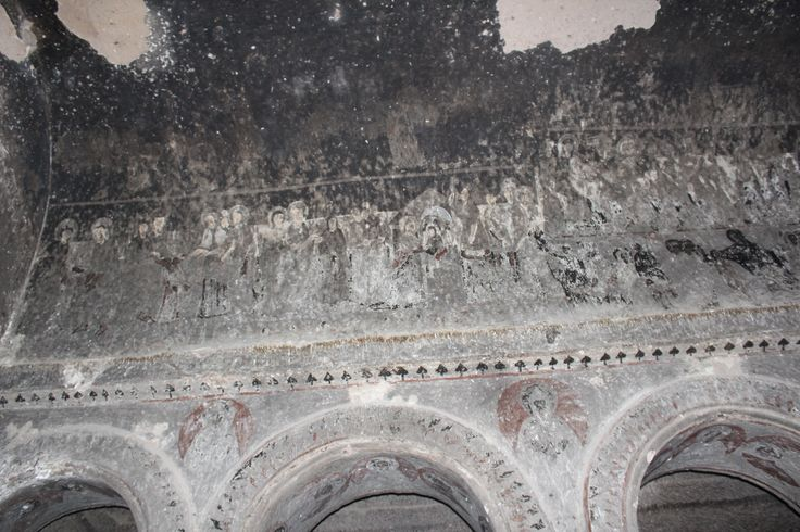 An early depiction of the Last Supper in one of the early churches in Cappadocia, Turkey.