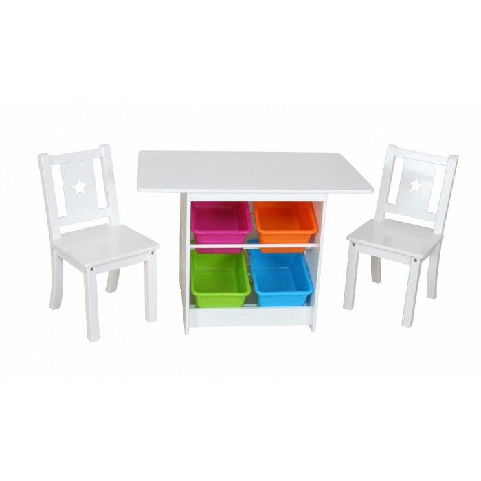 Kids Table & Chairs Set with Storage Tubs