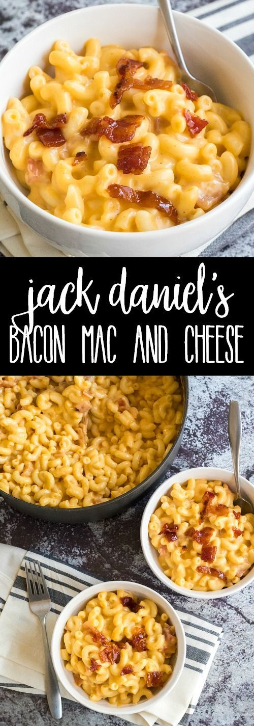 Whiskey and bacon come together for a killer dinner in this Jack Daniel's Bacon Mac and Cheese! Gooey & cheesy with sweet pops of candied bacon make this macaroni oh so crave-able!! via @breadboozebacon