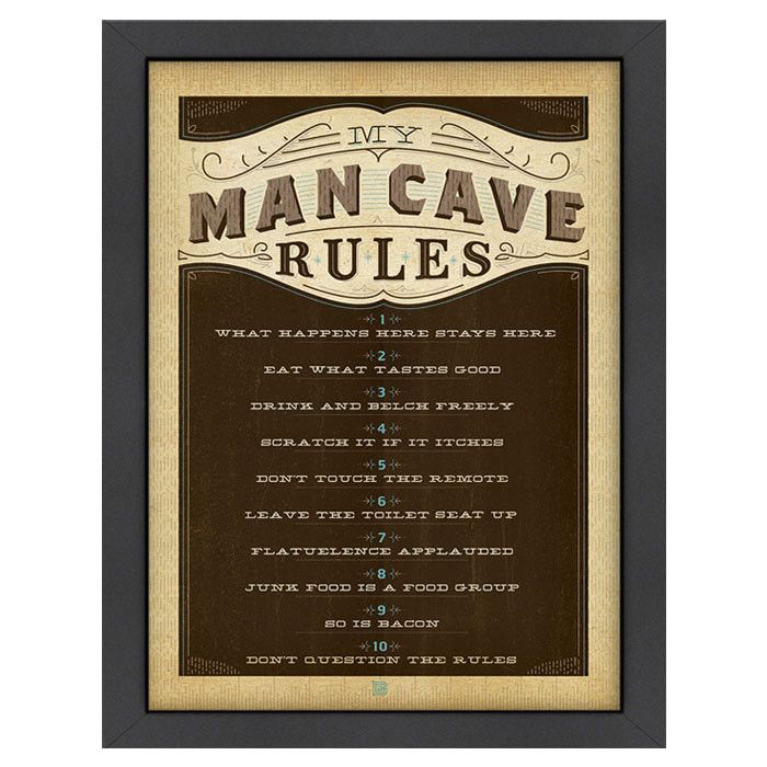 Man Cave Show Rosedale : Man cave rules framed print win place or show on joss