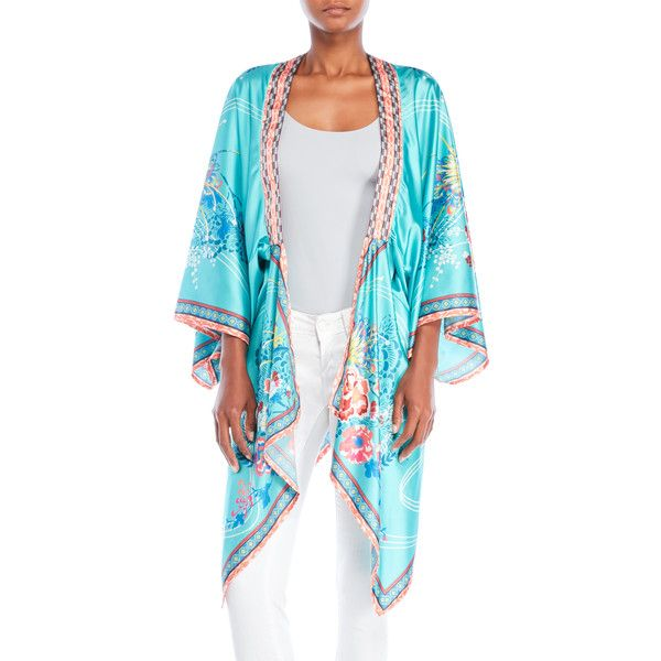 Flying Tomato Floral Satin Kimono ($35) ❤ liked on Polyvore featuring intimates, robes, blue, flying tomato, flower print kimono, blue robe, satin kimono robe and satin kimono
