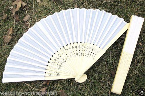 5 10 20 30pcs Lady's White Silk Folding Hand Held Fans For Wedding Party pe128 #HandHeldFan
