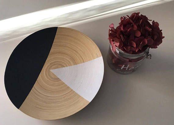 Wooden platter / Minimal home decor / Geometric wooden platter