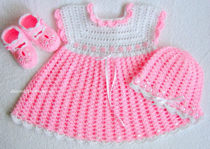 Vestido y sombrero de ganchillo para bebé bebé vestido por Dachuks