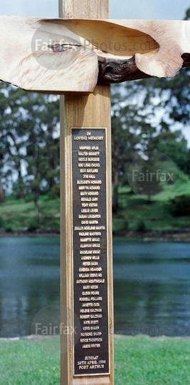 The names of the 35 people whe were shot and killed during the Port Arthur massacre in April 1996, engraved on a cross as a part of a memorial to the victims at the Port Arthur historic site, 21 November 1996. THE AGE Picture by RAY KENNEDY