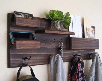 Entrada de organizador pared flotante estante correo almacenamiento clave Rack y capa rejilla gafas de sol almacenamiento organización familiar