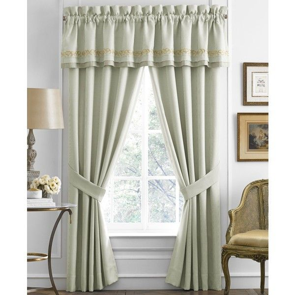 """Croscill Lorraine 88"""" x 17"""" Tailored Window Valance ($37) ❤ liked on Polyvore featuring home, home decor, window treatments, curtains, light blue, light blue curtains, window panels, light blue valance, window coverings and baby blue curtains"""