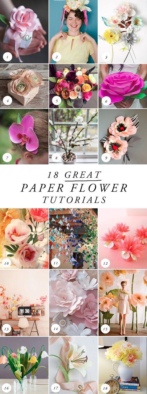 18 tuto pour faire toutes sortes de fleurs en papier pour la déco de votre mariage. Plus d'idées sur http://www.veuxtumebloguer.fr/decoration-de-mariage/