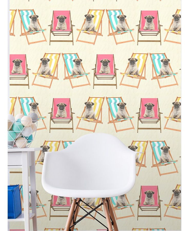Exclusive design to PriceRightHome. Adorable wallpaper featuring pug puppies in deckchairs
