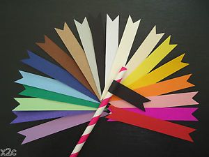 20 Paper Straw Flags Tags Wedding Hens Christening Baby Shower Birthday Party | eBay