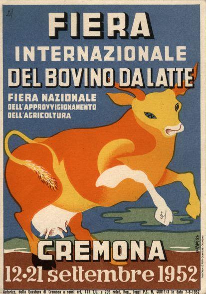 La pubblicità della manifestazione fieristica del bovino da latte  Cartolina colore - disegno, 09-1952