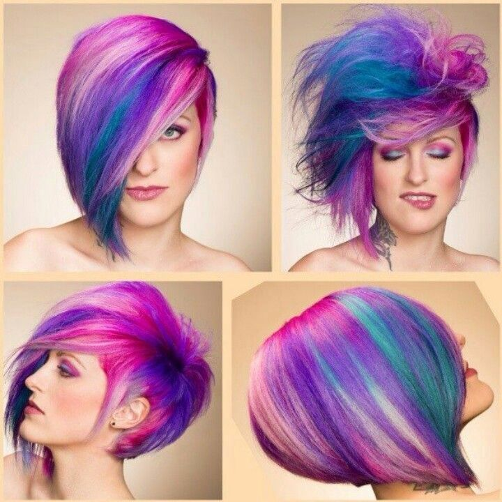 Pink, purple and turquoise, short hair