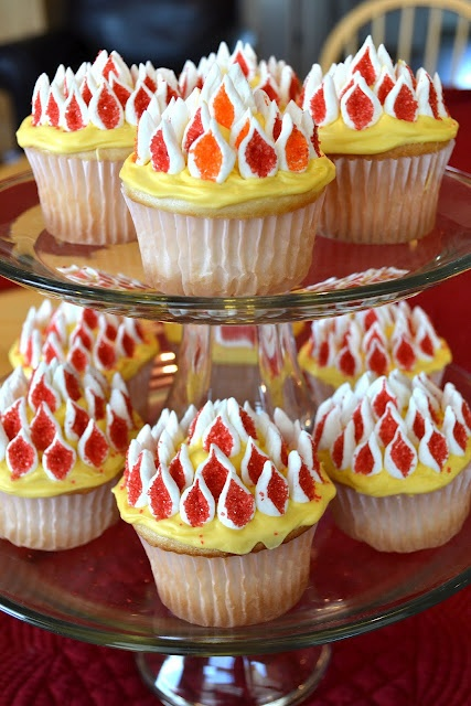 Flaming cupcakes...a handy idea when you're around firefighters!
