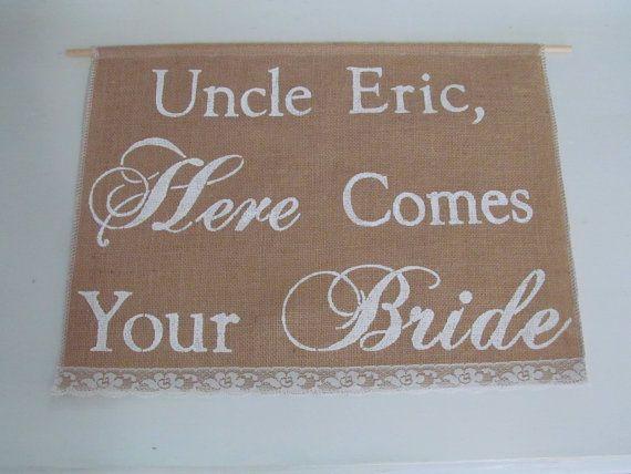 Personnalisé bannière - grand vient ici votre bannière de mariée - anneau personnalisé au porteur signe ici vient votre signe de mariée - Voici la bannière de la mariée