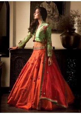 Festival Wear Orange & Green Banglori Silk Lehenga Choli - 60242