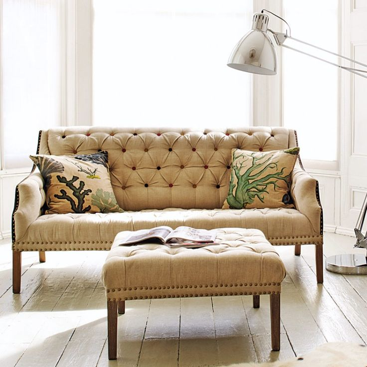 Graham And Green Uk Bath Button Back 3 Seater Sofa Raw Linen Gold Studs