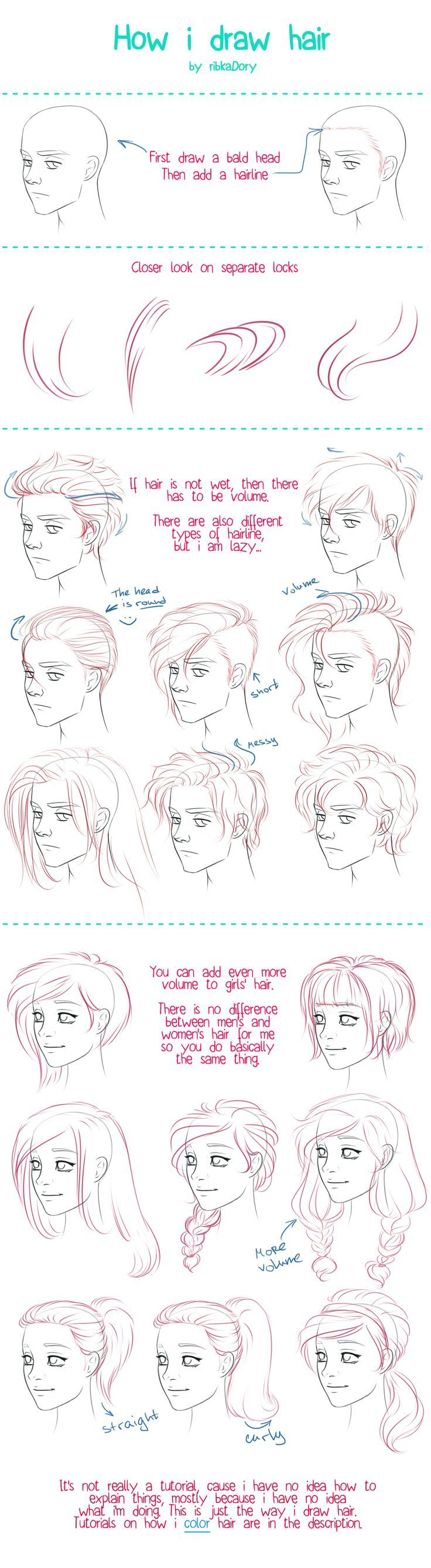 How to Draw Hair tutorial by =ribkaDory on deviantART: by drawing the ends and hairs at hairline close together you can create shading and a sense of form.: