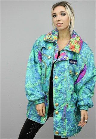 Vintage40s40sEllesseColourfulPatternedSkiCoat SLUSH Magnificent Patterned Ski Jackets
