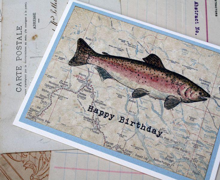 Rainbow Trout Fish Masculine Happy Birthday Handmade Greeting Card, Fisherman Fisherwoman by SandboxCards on Etsy https://www.etsy.com/listing/48912492/rainbow-trout-fish-masculine-happy