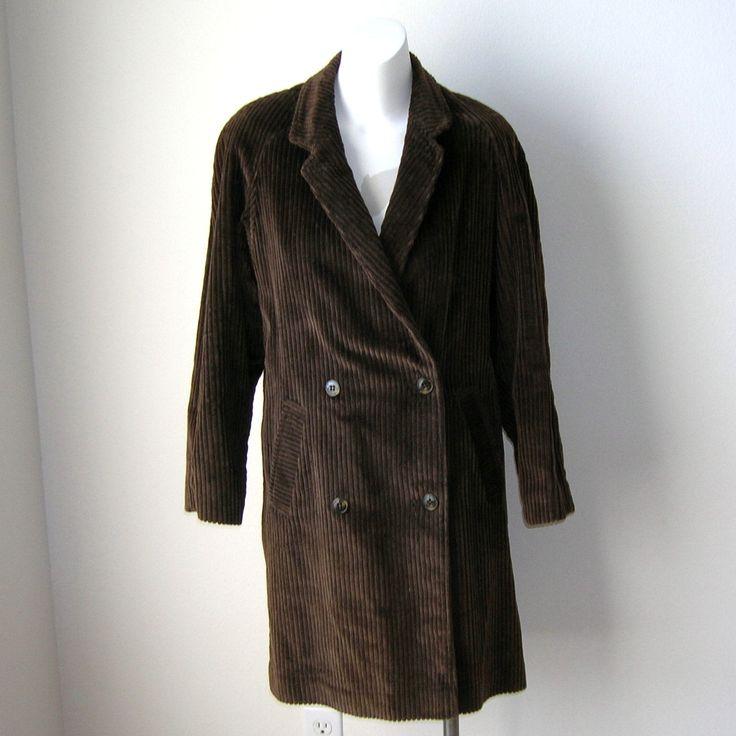 Vintage Womens Ladies Corduroy Doublebreasted Coat Jacket Brown by NotSewIdle on Etsy