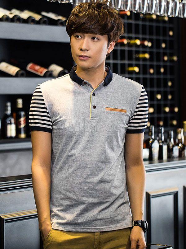 Stripes Polo Shirt Multicolor Cotton Polo Shirt for Men