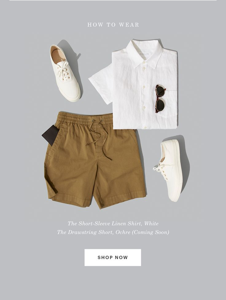 The Short-Sleeve Linen Shirt, White. The Drawstring Short, Ochre.