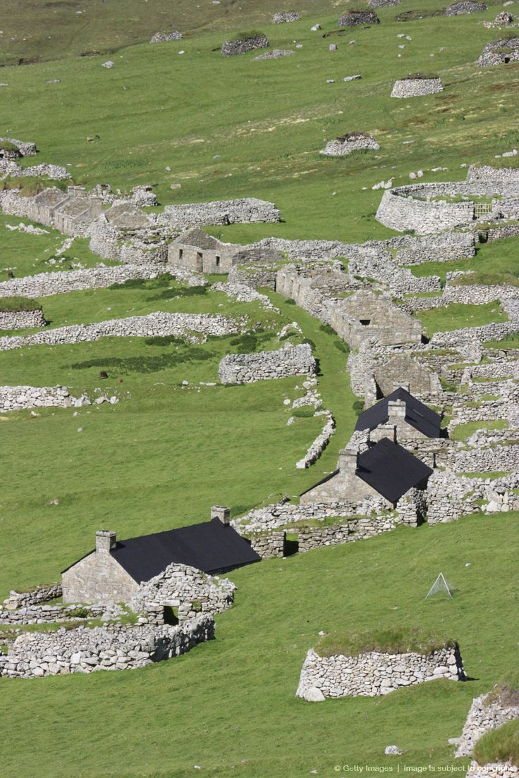 Hiort - The remains of The Village on Hirta, the largest island in the St. Kilda archipelago; they're the westernmost islands of the Outer Hebrides of Scotland. St Kilda or Hirta was first mentioned in writing in 1202.