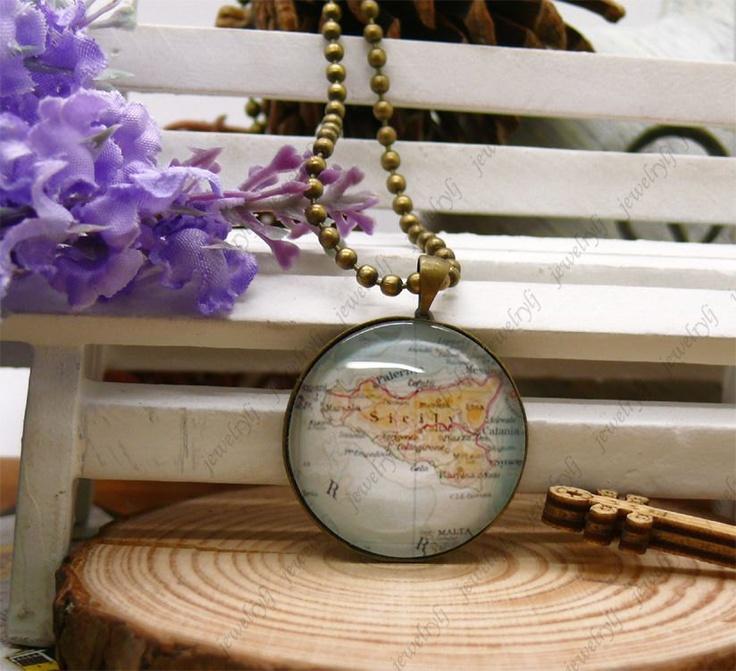 Sicily Map necklace,Sicily Map pendant,Sicily charm map necklace pendant,map charm,jewellery,Antiqued Brass,Glass Cabochon Necklace. $3.99, via Etsy.