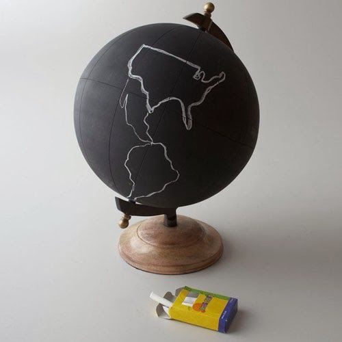 CHALKBOARD CRAFTS - find a globe at your local thrift store and purchase chalkboard paint at Michaels.