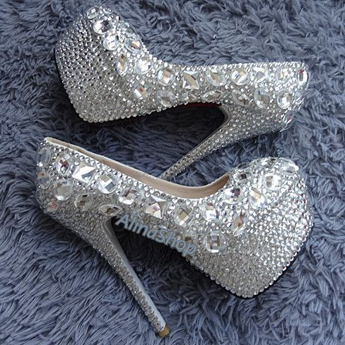 bridal shoes sliver crystals heels wedding bling heels bridal Platform heels custom size /color, Clean diamond white crystal heels Wedding on Etsy, $155.00