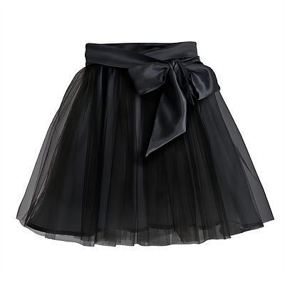 Fairytale Tulle Skirt with Satin Sash – Black.  Designed to create a dramatic silhouette, this extravagant tulle skirt with a sumptuous, detachable bow will be a favourite for all little girls. Outer: 100% Nylon. Lining and Trim: 100% Polyester. Gentle Dry Clean only.