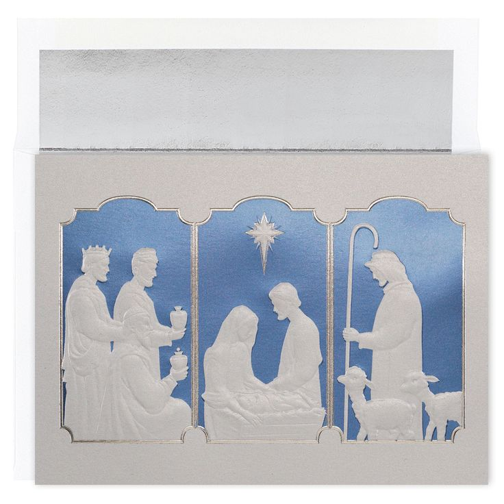 MyCards4Less - Manger triptych Religious Christmas Card, $17.60 (http://www.mycards4less.com/religious-christmas-cards/nativity-and-creche/manger-triptych-religious-christmas-card/)