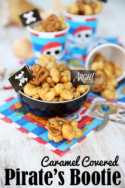 BEST. SNACK MIX. EVER.  Puffed Pirate's Booty mixed with pretzels and peanuts and covered with caramel.  Quick bake to make it crunchy and mess-free.  Perfect for packing up and munching.  Crazy good!
