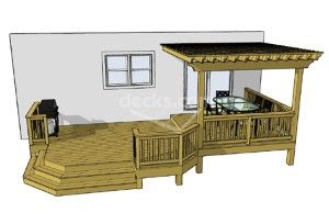 Simple Deck Plans | this 2 level deck features a 10 x 12 top deck completely covered by a ...