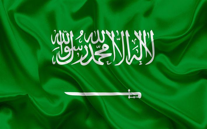 Scarica sfondi Arabia Saudita bandiera, di seta verde bandiera, simboli nazionali, Arabia Saudita
