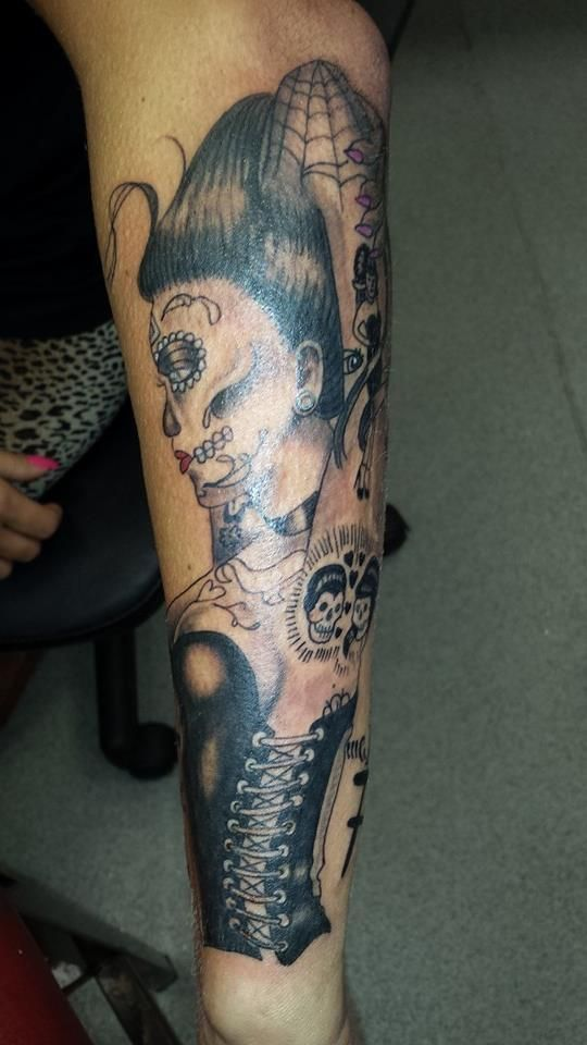 day of the dead gothic forearm tattoo girl corset detail spiderweb ...