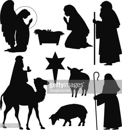 Shepherd And Sheep Silhouette Collection of christmas nativity silhouettes including angel ...
