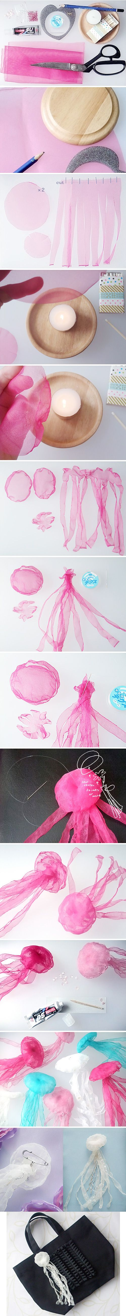 Original post for DIY jellyfish decorations!!  lazycraft: http://lazy-craft.blogspot.jp/2012/10/how-to-make-jellyfish.html