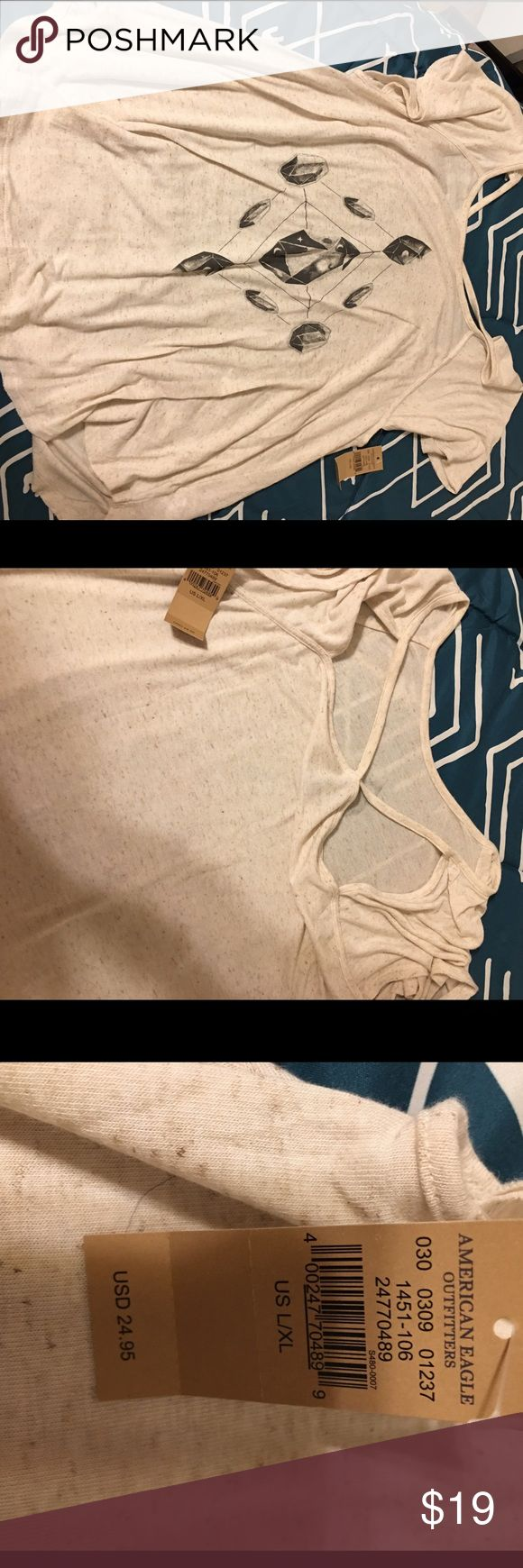American Eagle Outfitters Jegging Tee! NWT! Tried on, didn't look right on me. ☹️️ Awesome crystal boho hippie design. American Eagle Outfitters Tops Tees - Short Sleeve