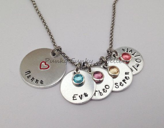 Personalised birthstone necklace with names by PFJewelleryshop