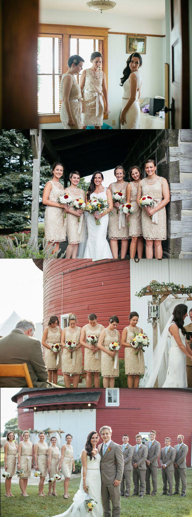 CHARMING SCOOP NECK FULL LACE SLEEVELESS KNEE-LENGTH SHORT COLUMN BRIDESMAID DRESSES,DB089