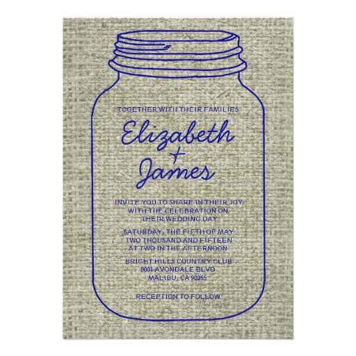 ShoppingRoyal Blue Burlap Mason Jar Wedding Invitations Personalized Invitesyou will get best price offer lowest prices or diccount coupone