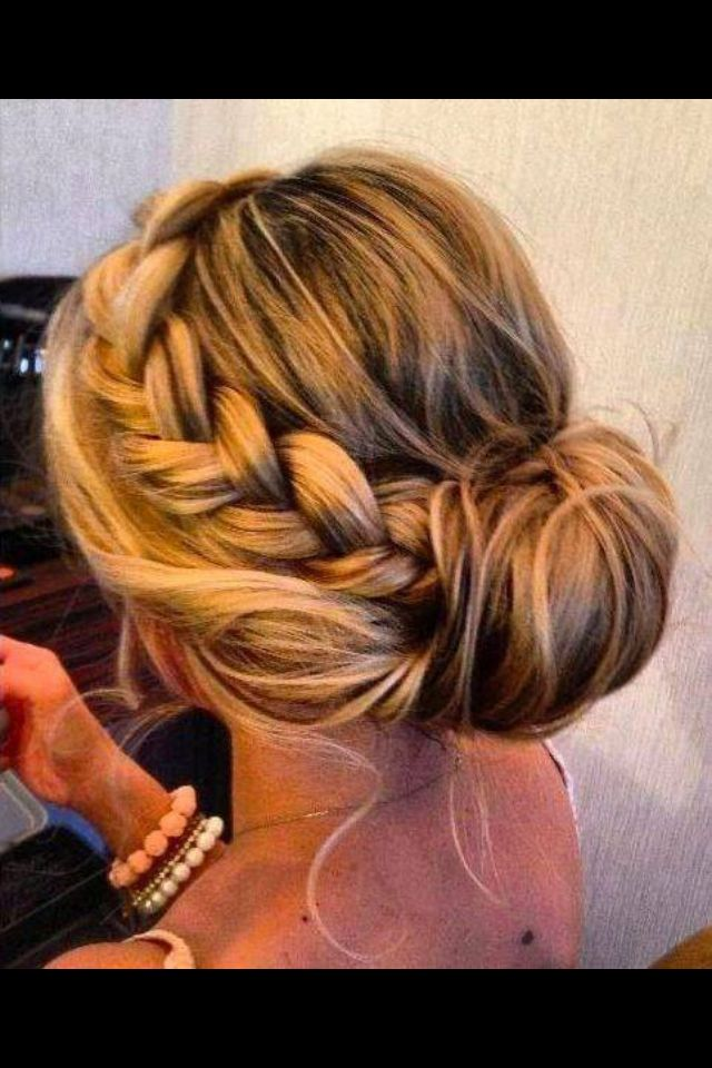 Beautiful braid and bun for a bride or bridesmaids!