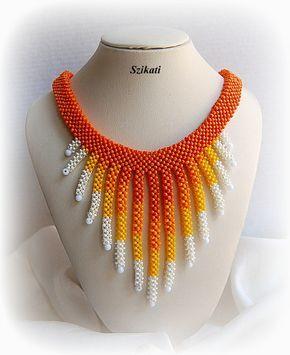 Collar de cuentas amarilla semilla de naranja blanco perla, collar de verano, CRAW, OOAK