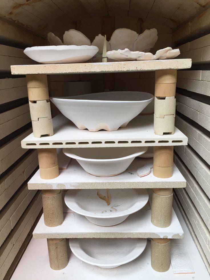 Lynda - Anne Raubenheimer - glaze firing my porcelain bowl second from top shelf and student work 7 April 2016