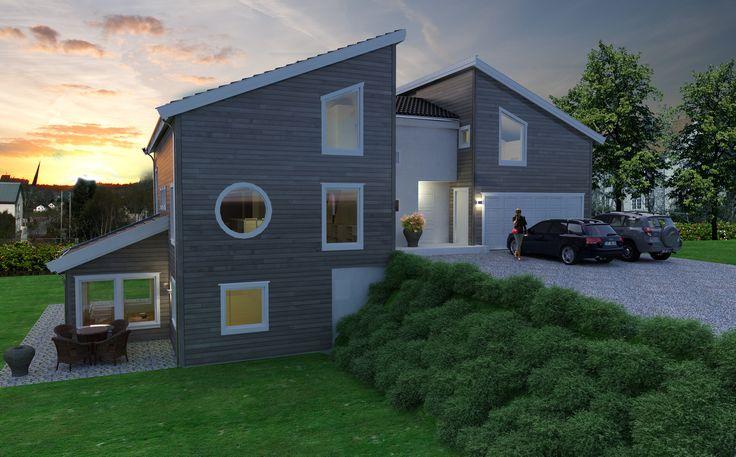Image result for moderne hus til skrå tomt